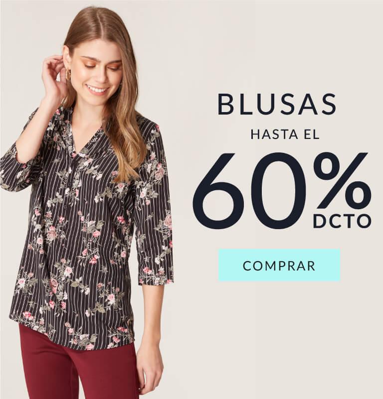 Hasta el 60% de dcto en blusas mujer