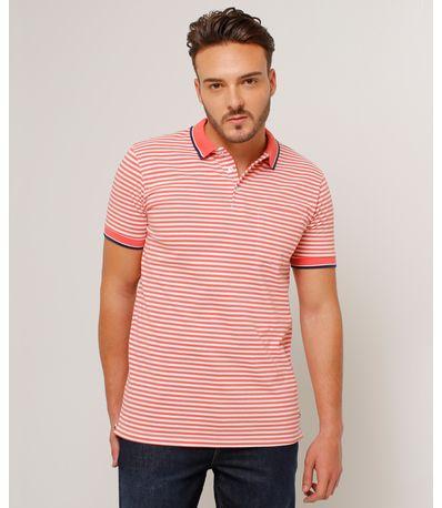 Camiseta De Rayas Tipo Polo Para Hombre Color Rosado 44111487 - Patprimo 7495d0ceb5df9