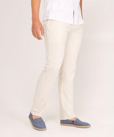 82d9a40474 Pantalón Para Hombre De Lino Tono Blanco Hueso