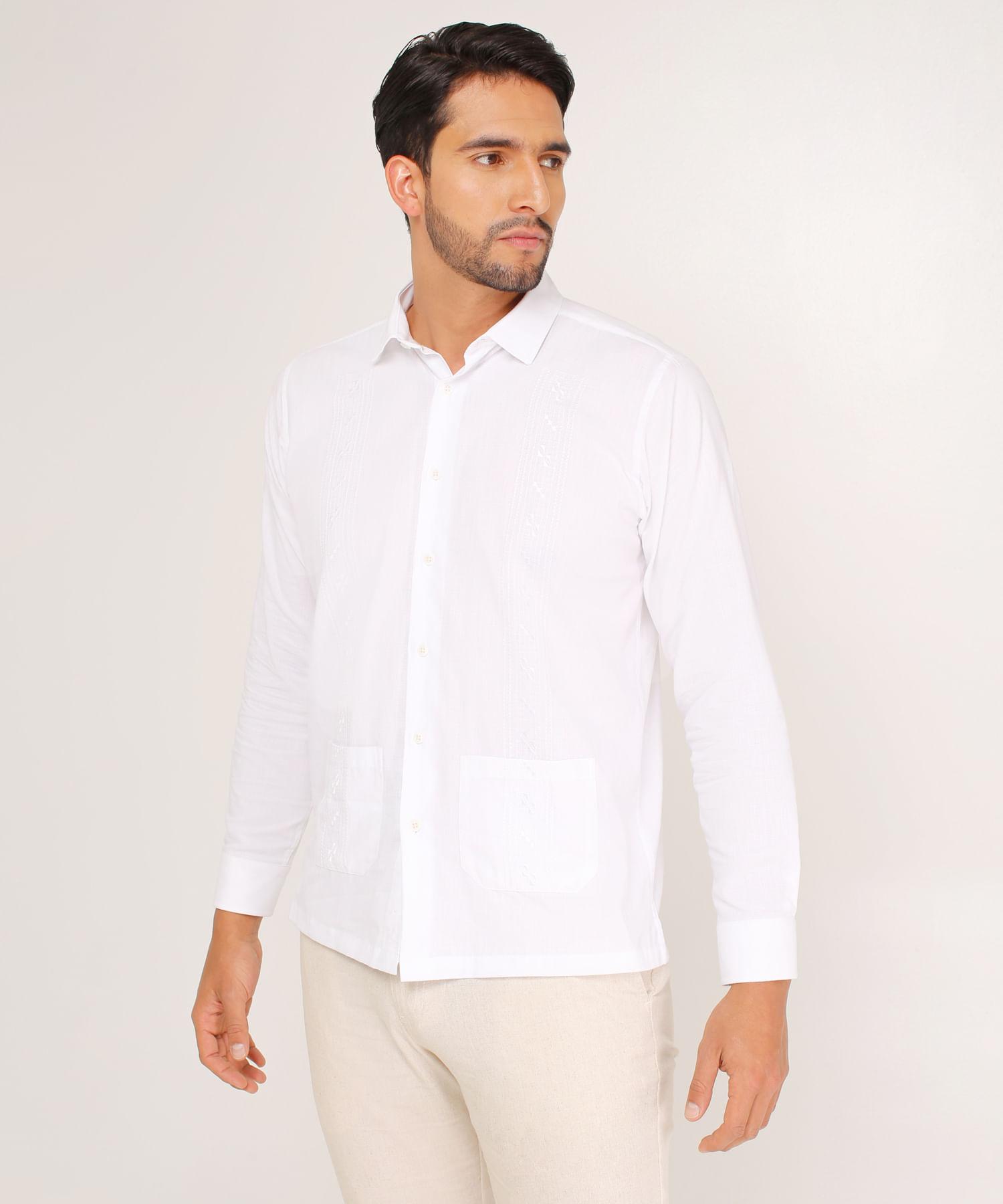 272c315ce Camisa Guayabera Para Hombre Unicolor Blanca 44030256 - Patprimo