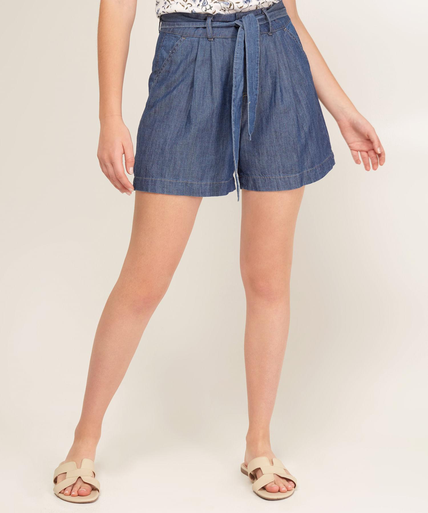 9b120471 Short Para Mujer Con Cinturón En Denim Color Azul 30190028 - Patprimo