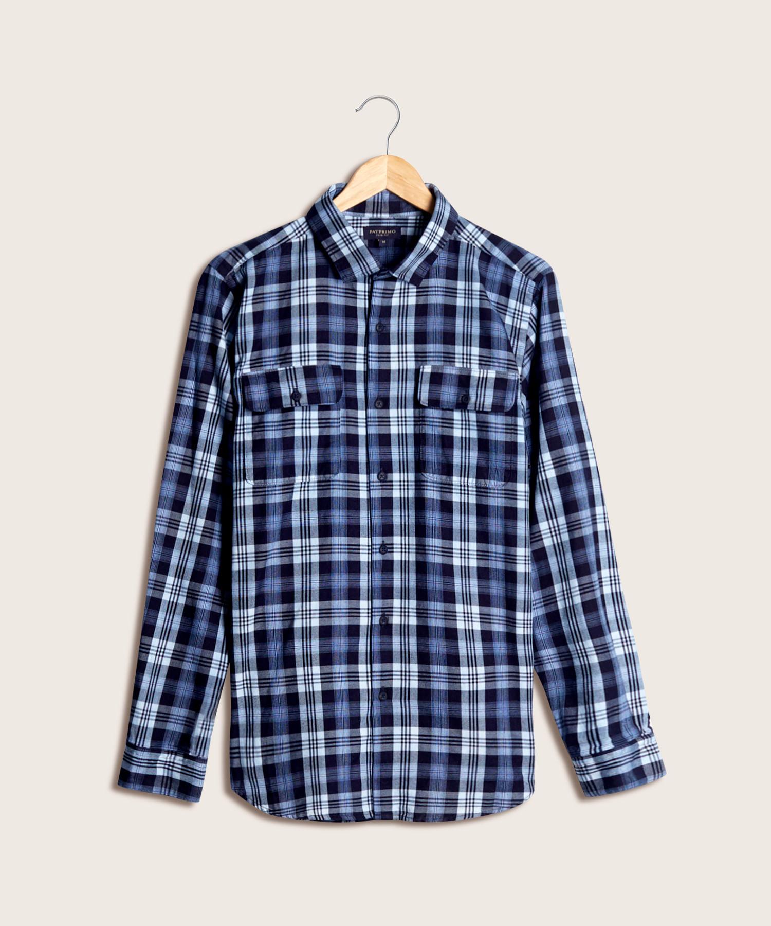 98bd507baa Camisa Denim Manga Larga Para Hombre Unicolor Azul 44011833 - Patprimo
